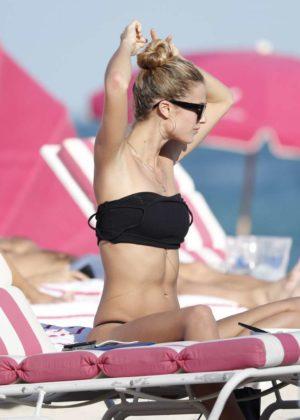 Kate Bock in Black Bikini on the beach in Miami