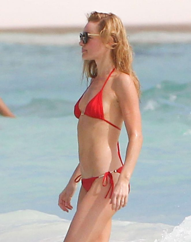 Kate Bosworth in Red Bikini on the beach in Mexico