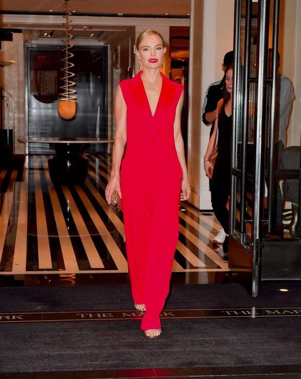 Kate Bosworth in Red Dress: Leaves Mark Hotel in New York-03