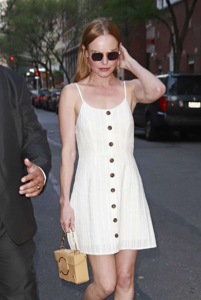 Kate Bosworth in White Dress out in New York