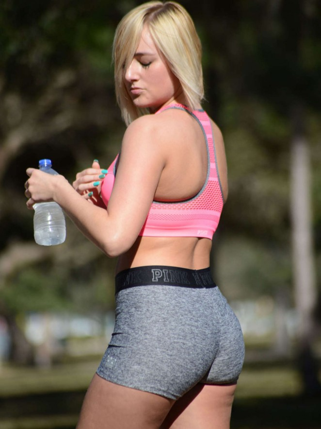 Kate England does yoga in Miami