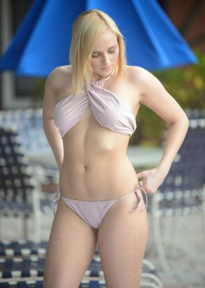 Kate England in Bikini at a pool in Los Angeles