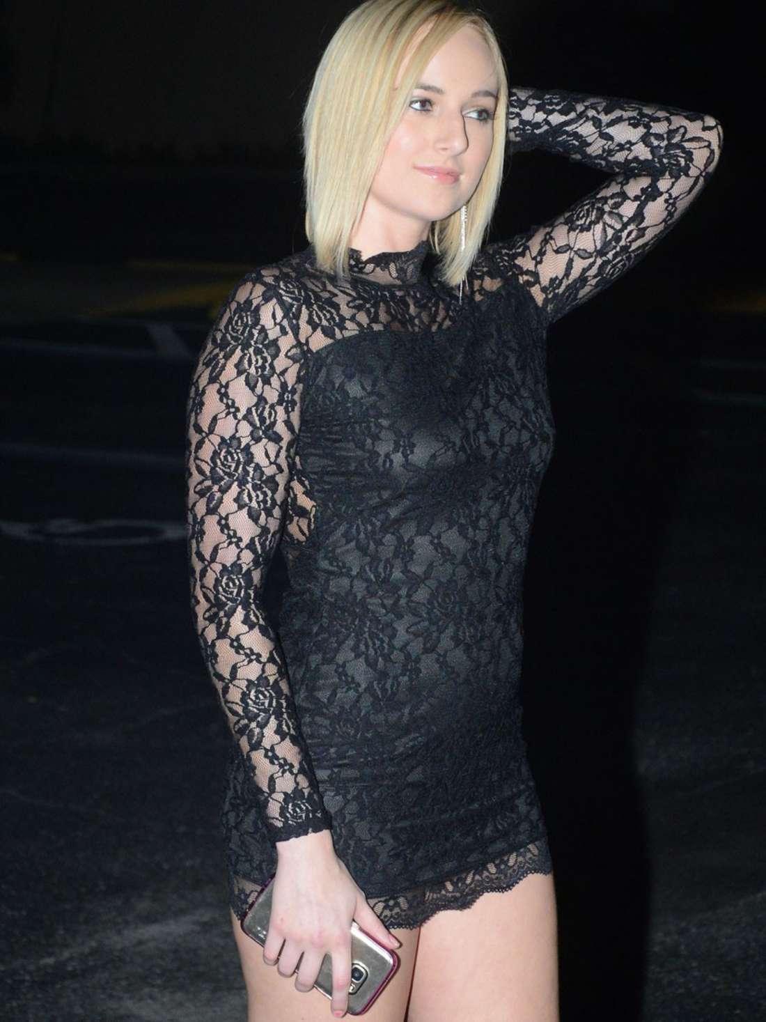Kate England in Black Mini Dress out in LA - GotCeleb