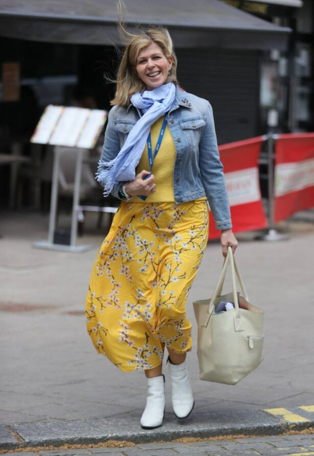 Kate Garraway - Wearing a denim top and yellow summer dress in London