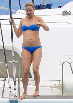 Kate Hudson in Blue Bikini on a yacht in Hawaii