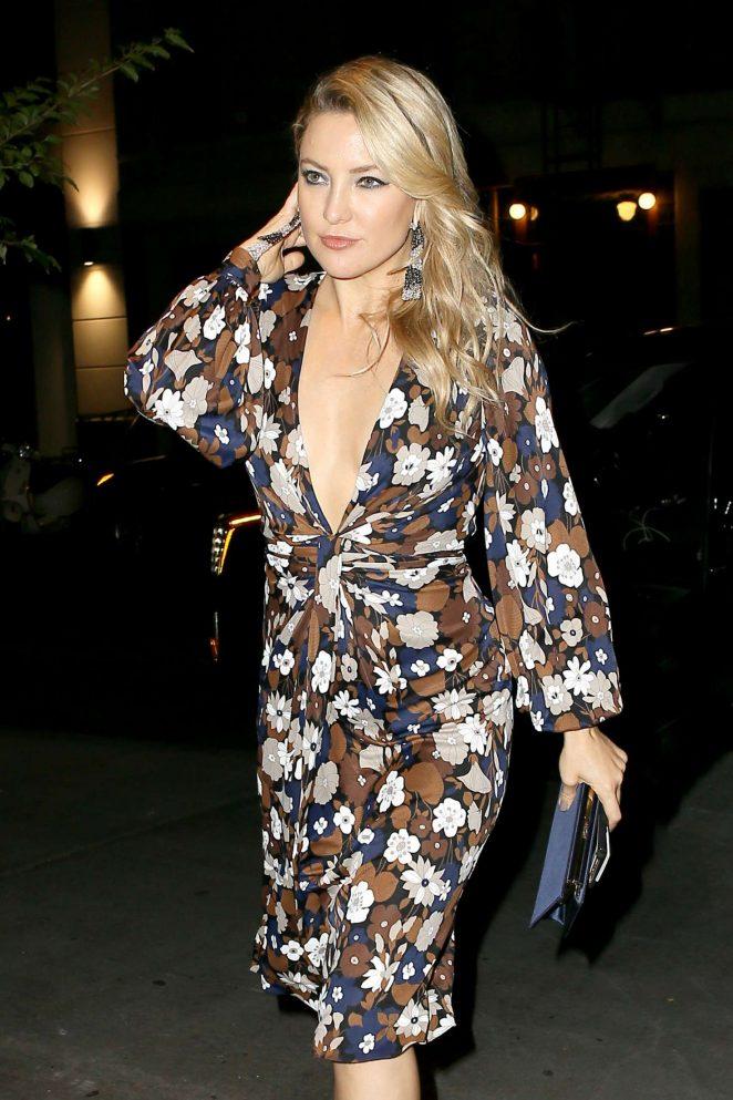 Kate Hudson in floral printed dress in New York