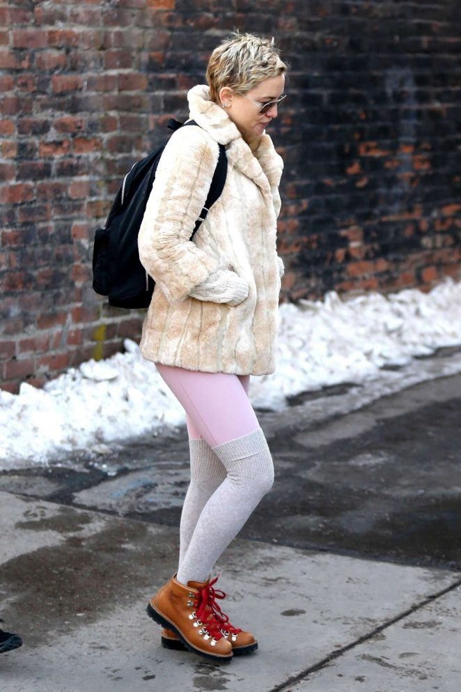 Kate Hudson in Fur Coat out in Aspen