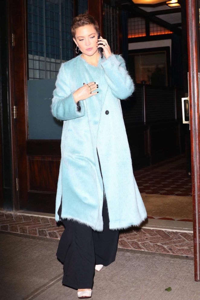 Kate Hudson in Long Coat out in NYC