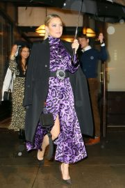 Kate Hudson - In purpple dress leaving her hotel in NYC