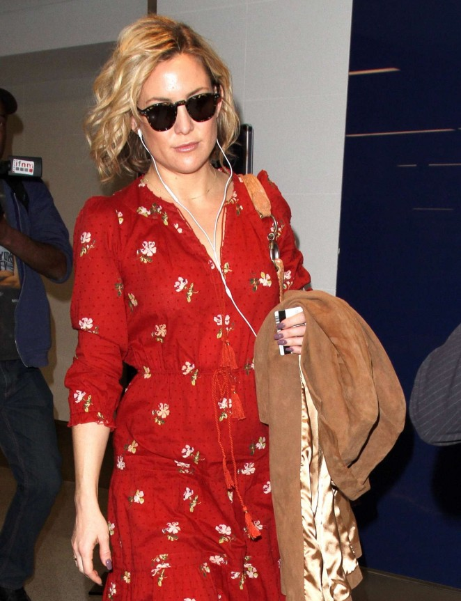 Kate Hudson in red floral dress at LAX Airport in LA