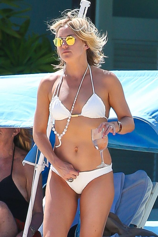 Kate Hudson in White Bikini on a beach in Hawaii