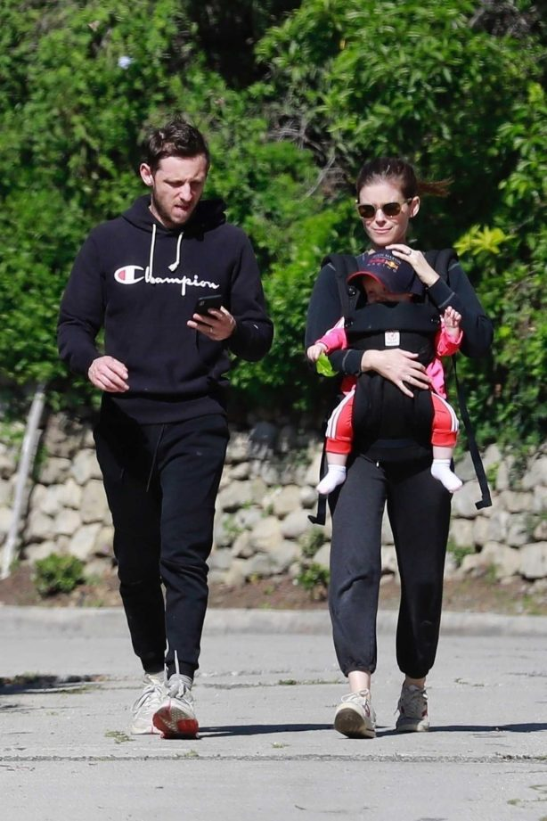 Kate Mara and Jamie Bell - Out with their baby for a hike in Los Feliz