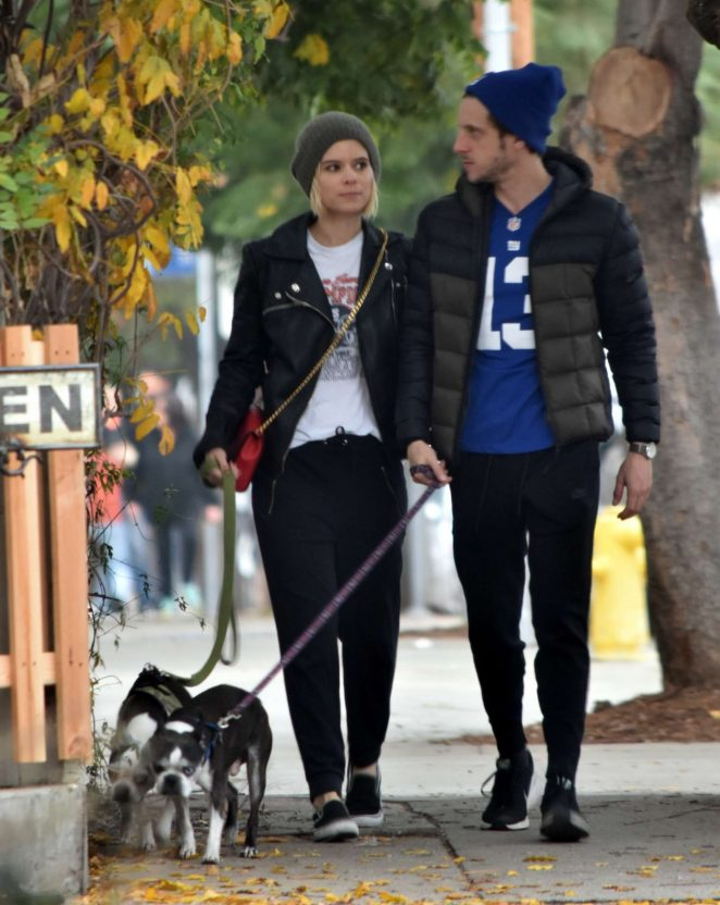 Kate Mara and Jamie Bell walking their dogs in Silverlake