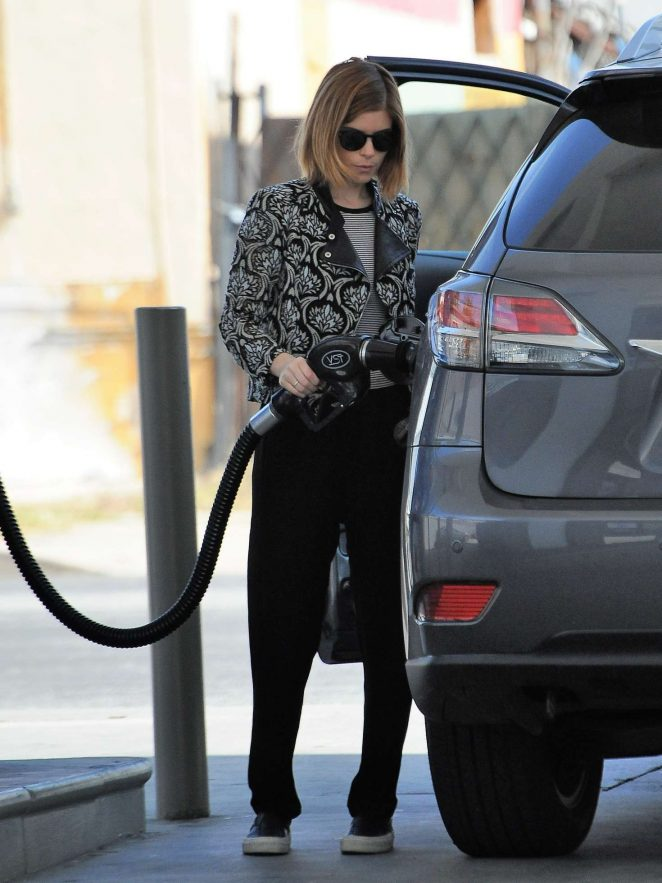 Kate Mara at a gas station in Malibu
