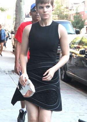 Kate Mara in Black Mini Dress out in NYC