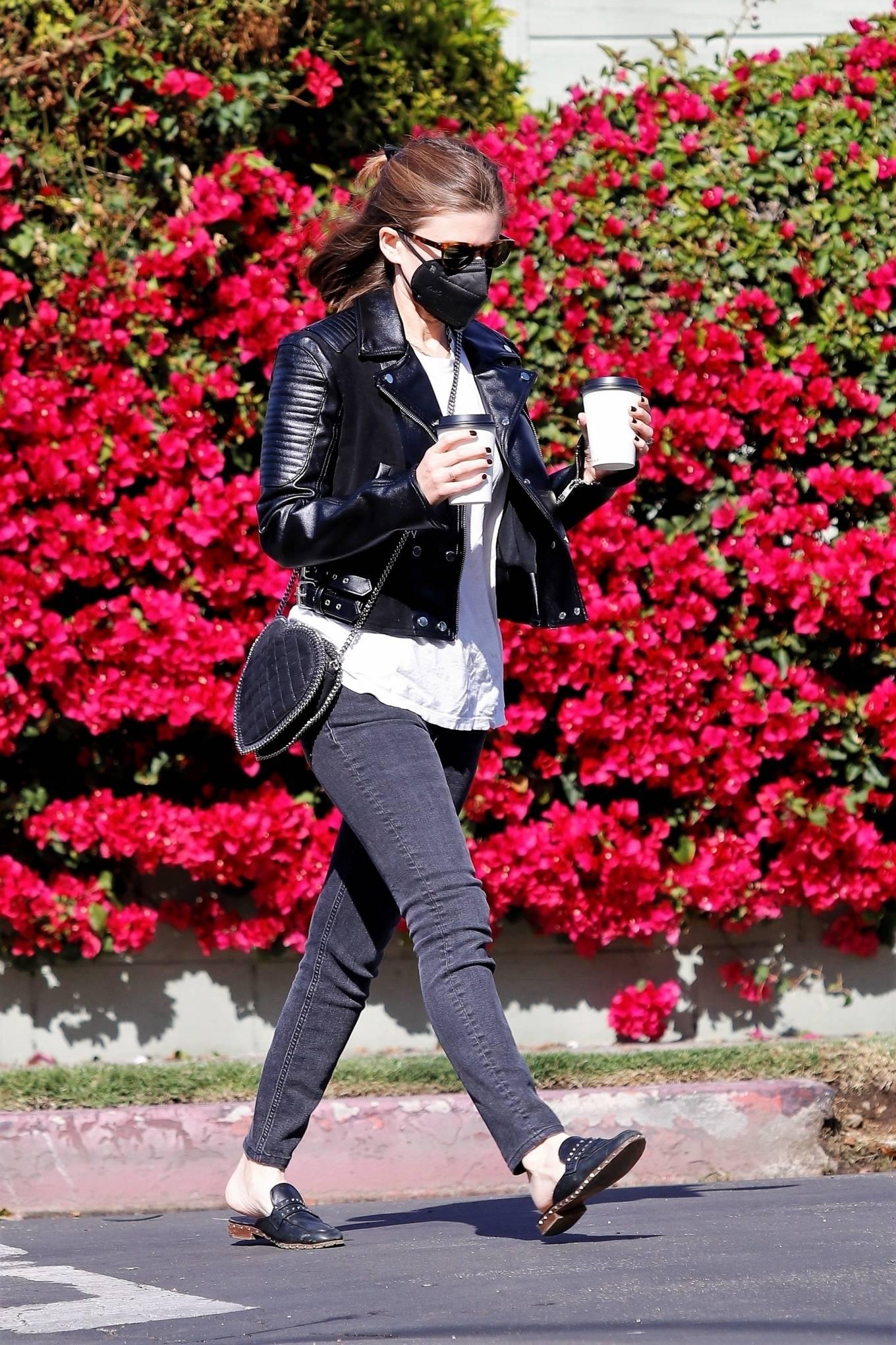 Kate Mara - in black jeans and a leather jacket in Los Feliz