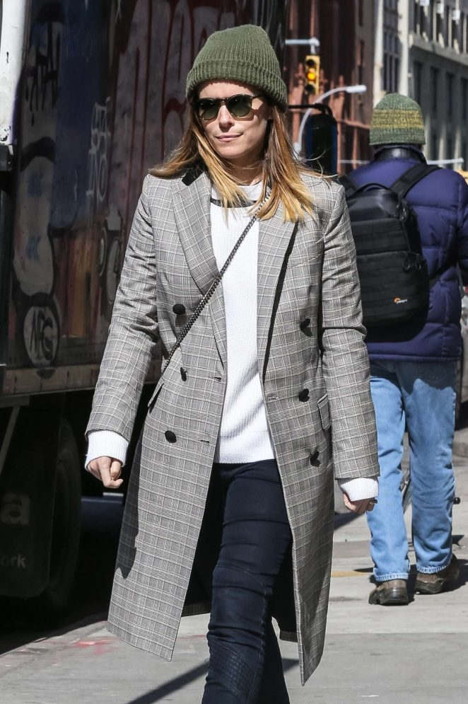 Kate Mara in Long Gray Coat - Out in New York City