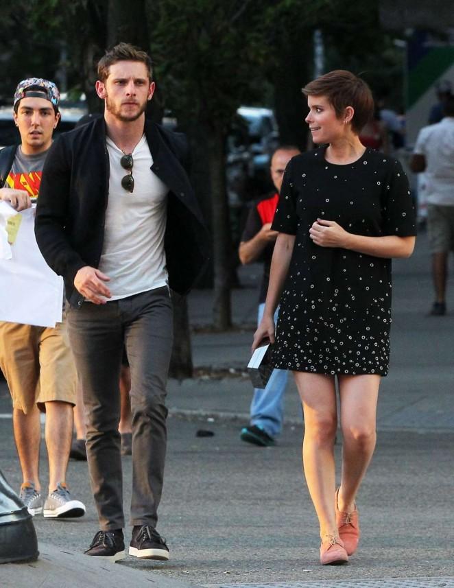 Kate Mara in Mini Dress Out in NY