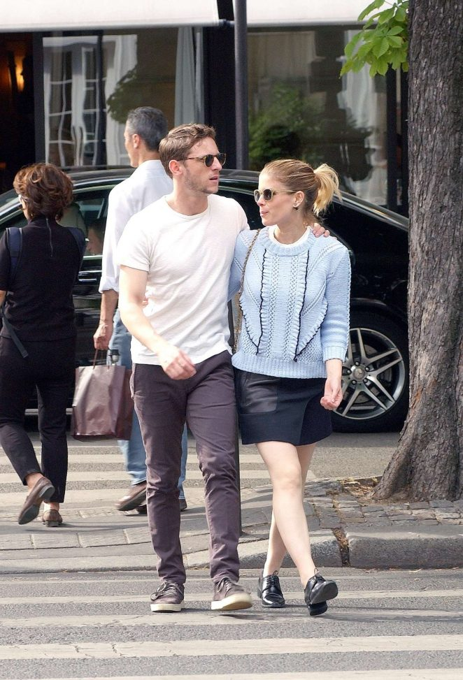 Kate Mara in Mini skirt with Jamie Bell out in Paris