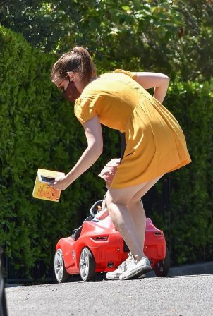 Kate Mara in Summer Yellow Dress in Los Feliz