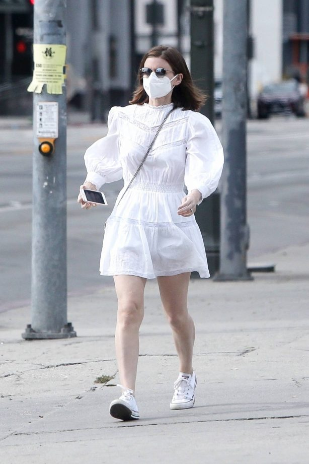 Kate Mara - Out in white summer dress in Beverly Hills