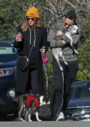 Kate Mara - Takes her dogs for a walk in Los Angeles