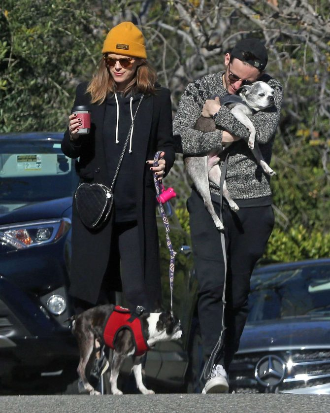 Kate Mara – Takes her dogs for a walk in Los Angeles