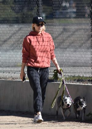 Kate Mara takes her dogs in Silver Lake