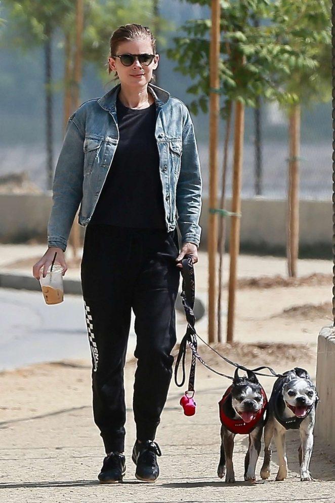 Kate Mara - Walking her dogs in Los Angeles