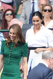 Kate Middleton and Meghan Markle - Women's Final Day at Wimbledon 2019 in London
