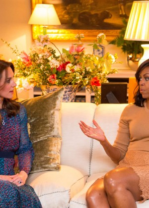 Kate Middleton and Michelle Obama at Kensington Palace in London