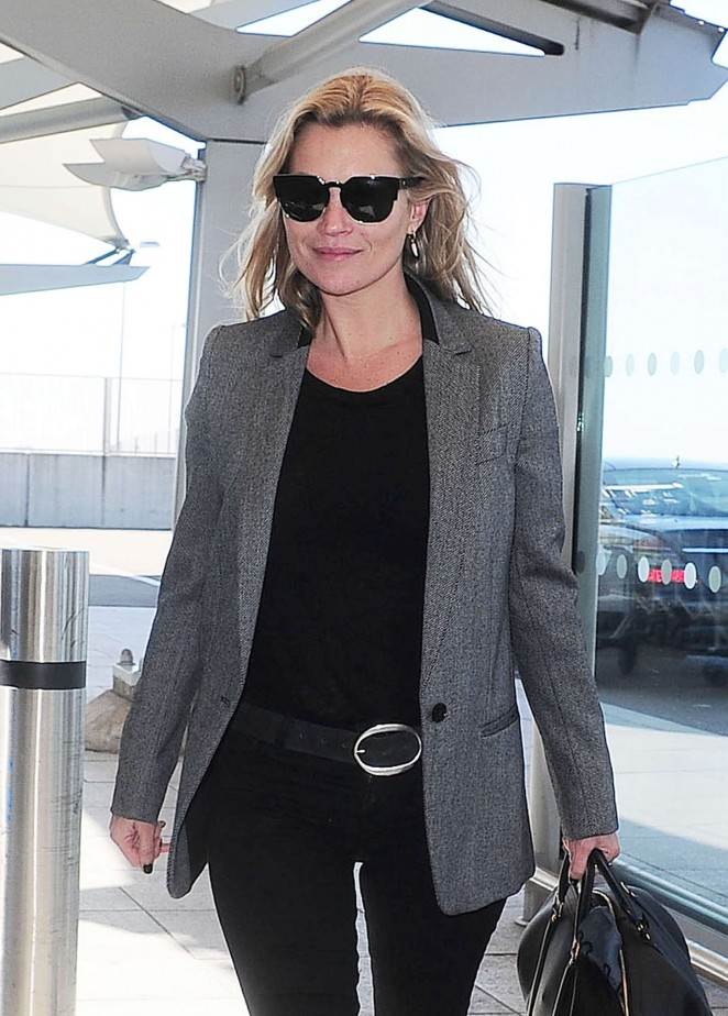 Kate Moss in Tights at Heathrow Airport in London