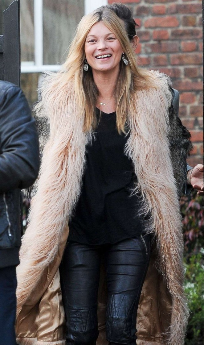Kate Moss in Furry Coat at Cotswolds