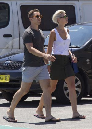 Kate Peck with boyfriend James White out in Sydney