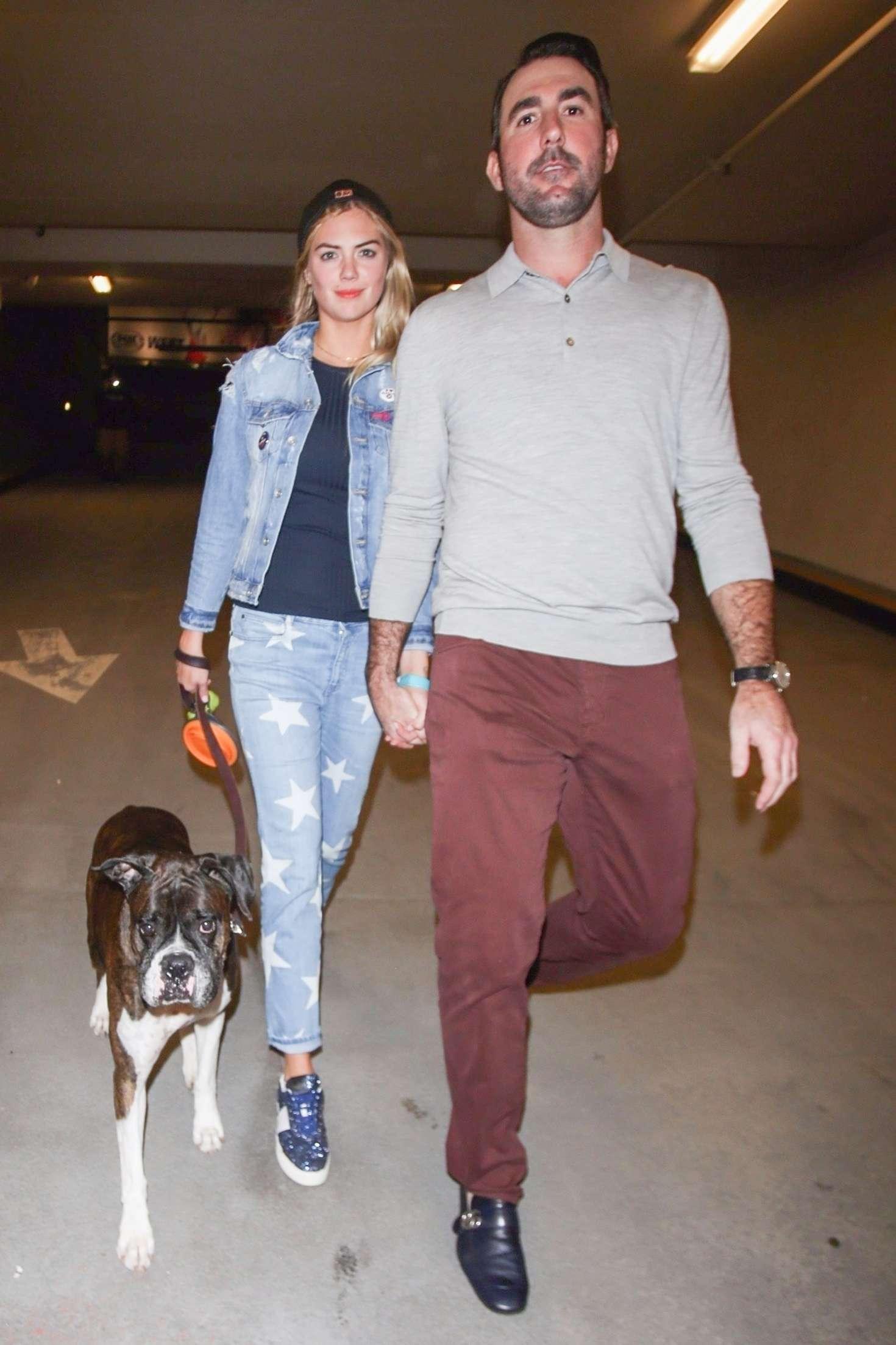 Kate Upton and Justin Verlander walk the dog in Los Angeles