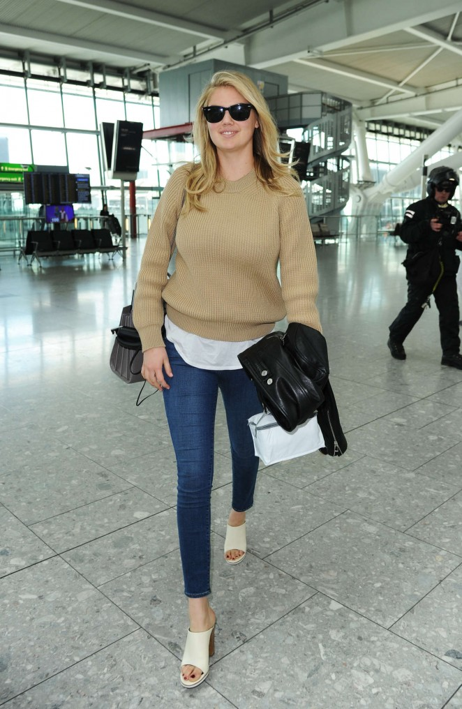 Kate Upton in Tight Jeans at Heathrow airport in London
