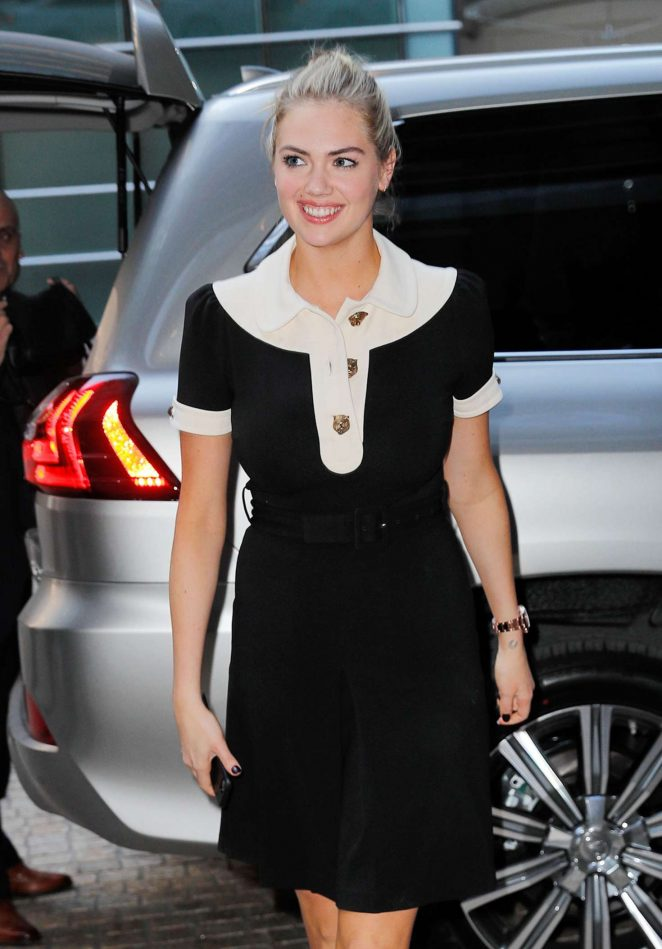 Kate Upton in Black Dress Out and about in New York