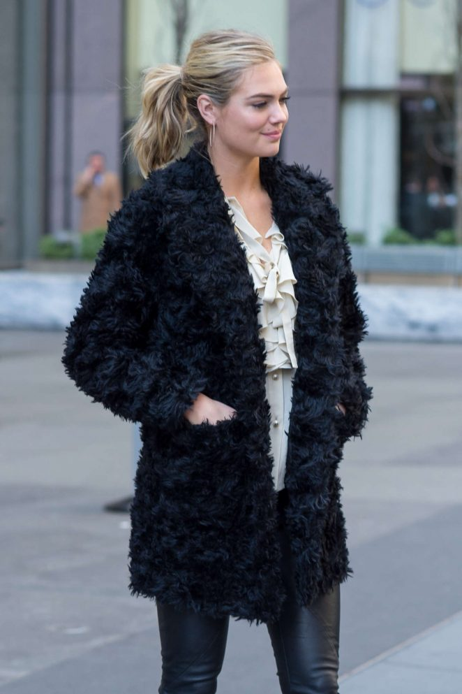 Kate Upton in Black Fur Coat Out in NYC