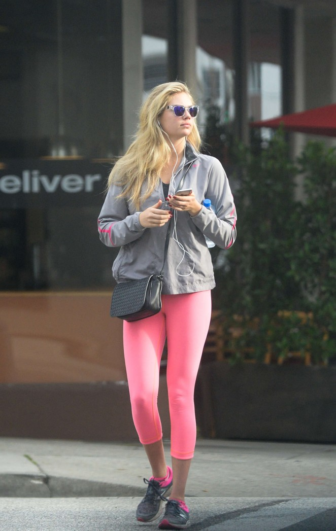 Kate Upton in Pink Tights out in Beverly Hills