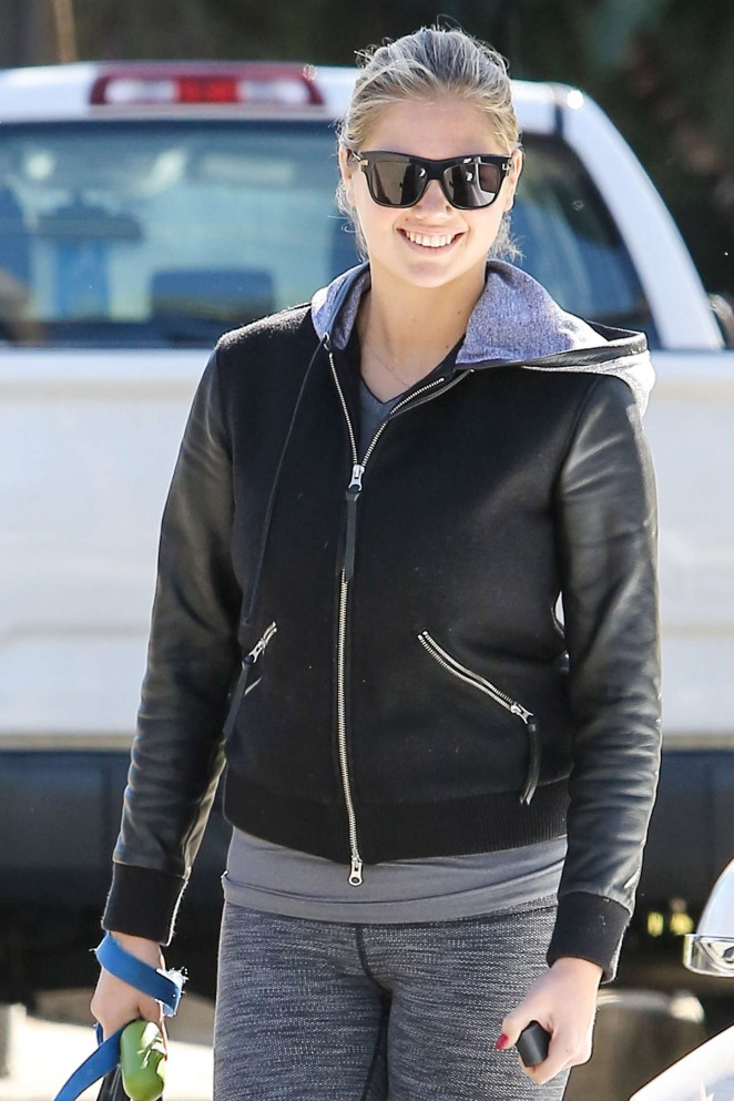 Kate Upton in Tights out with her dog in Beverly Hills