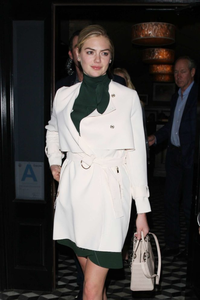 Kate Upton in White Coat at Craig's restaurant in West Hollywood
