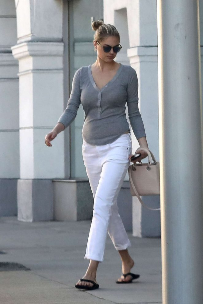 Kate Upton in White Pants Out in Beverly Hills