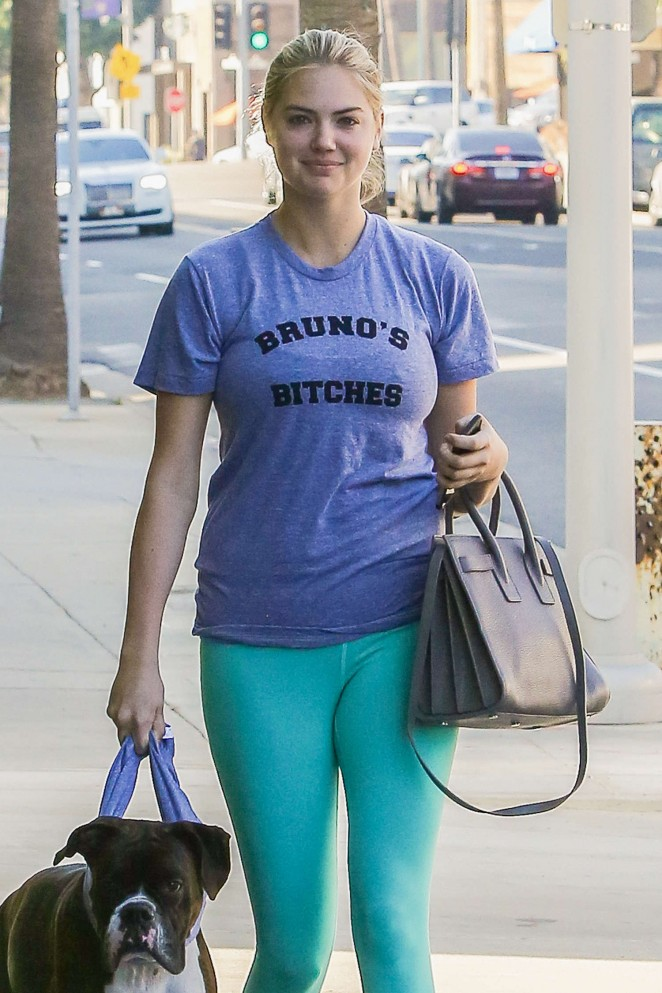 Kate Upton in Tights Walking her dog in Beverly Hills