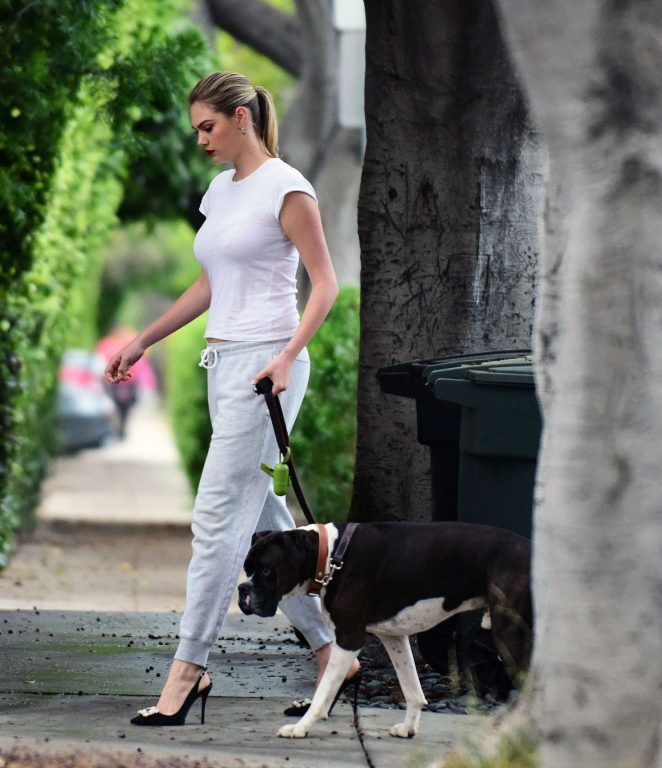 Kate Upton walking her dog in Los Angeles