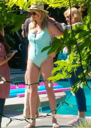 Kate Upton in Swimsuit on t'The Layover' set in Vancouver
