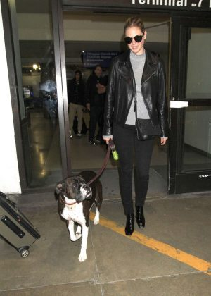 Kate Upton with her dog at LAX Airport in Los Angeles