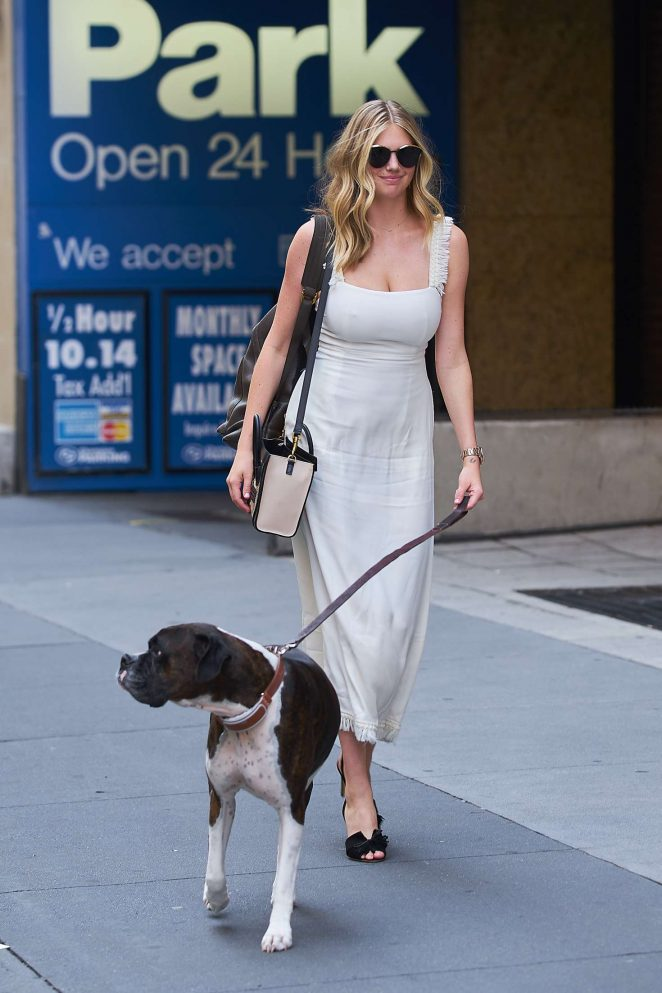 Kate Upton with her dog Harley out in NYC