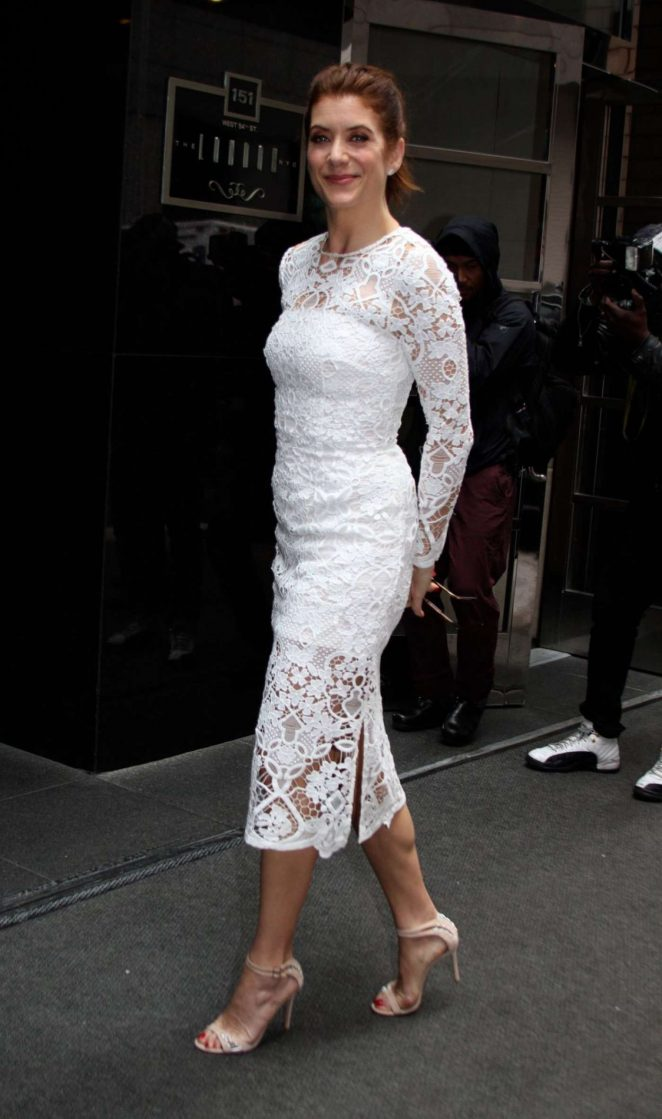 Kate Walsh in White Dress Out in New York