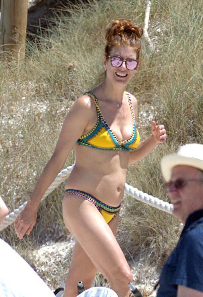Kate Walsh in Yellow Bikini in Ibiza