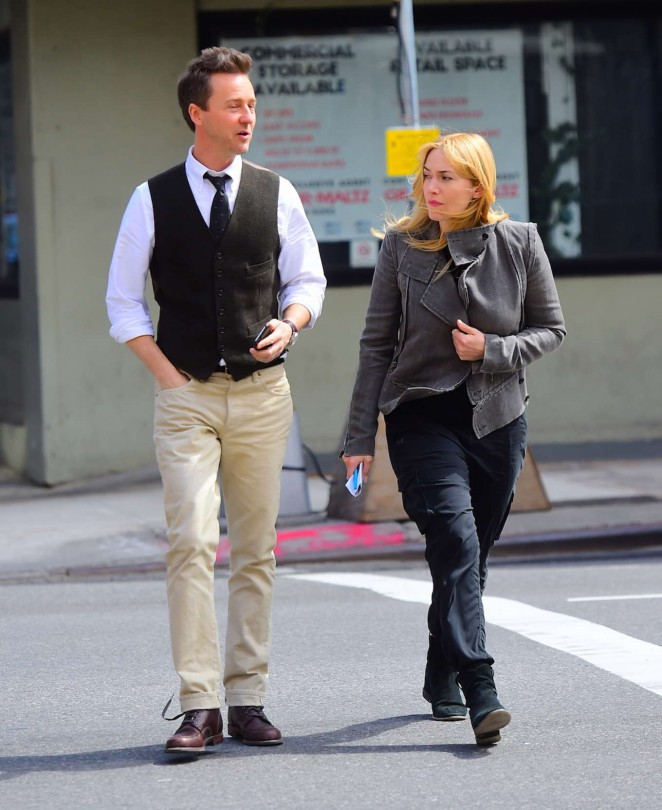 Kate Winslet and Ed Norton on set of 'Collateral Beauty' in NYC